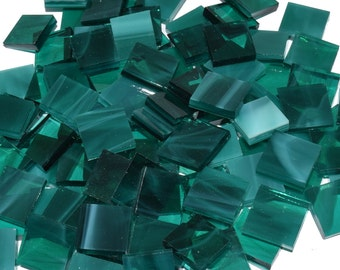 Teal Green Wispy Hand Cut Stained Glass Mosaic Tiles - #49