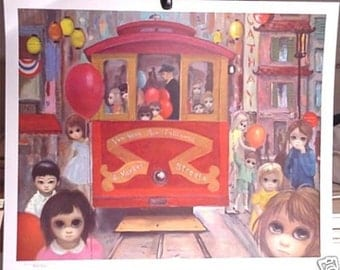 Walter Margaret Keane Big Eyes Kids Vintage Lithograph Retro Print SUNDAY IN CHINATOWN Sale! Sale! Sale!