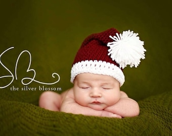 Baby Santa Hat, Newborn Photo Prop, Crochet Santa Hat, Toddler Santa Hat, Santa Hat Costume