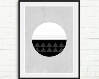 Geometric Print Circle Minimal Poster Modern Wall Art Print Wall Decor Black White Minimalist Circular Poster Simple Office Decor Home Art