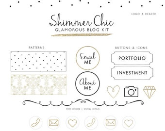 Blog Kit - Branding Kit - Glitter web elements - glitter blog kit - chic and modern branding