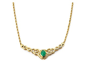 14K Gold Emerald Necklace, Emerald Necklace, Gold Necklace, Emerald Jewelry, Gold Jewelry, Fancy Necklace, Fancy Jewelry, Irish Jewelry