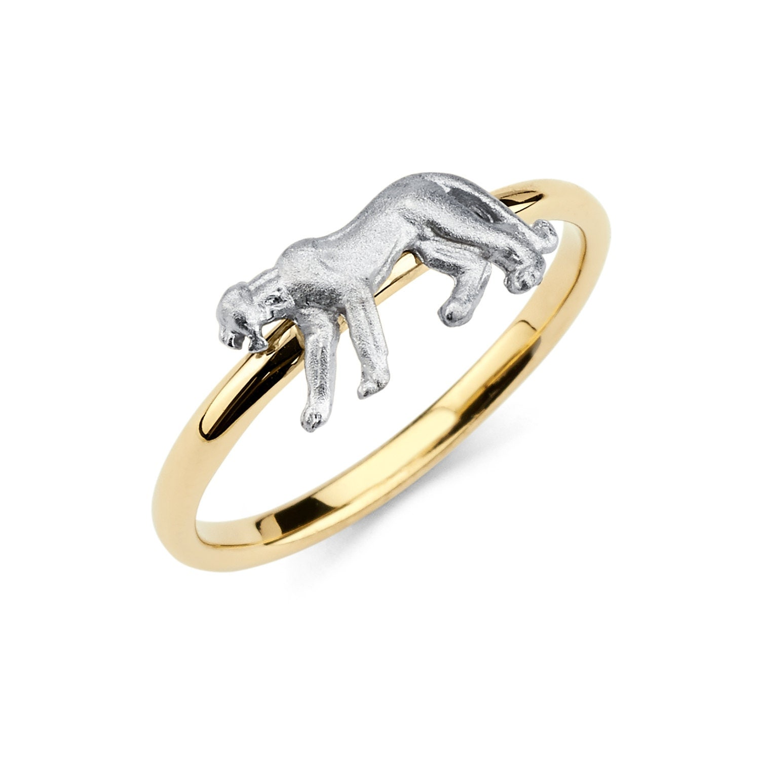 14k two tone gold panther ring panther ring panther jewelry
