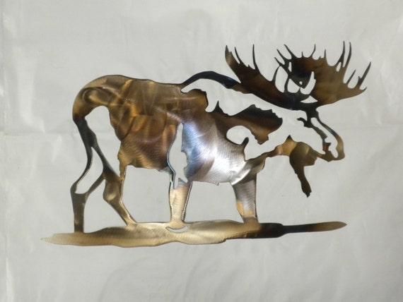 16 Inch Bull Moose Metal Heat Colored Wall Art Ornament