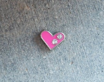 Floating Charm For Glass Memory Lockets- Pink Heart
