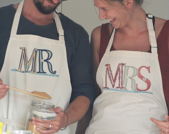 MR & MRS APRONS (His and Hers) 100% calico - personalise/customise with surname/date