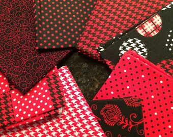 Fat Quarter = 2 yards  Houndstooth Pattern and Polka Dors - Red, Black & White