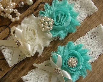 Garter / Wedding Garters / Ivory / Aqua Sky / Bridal Garter / Toss Garter / Wedding Garter Set / Vintage Inspired Lace Garter