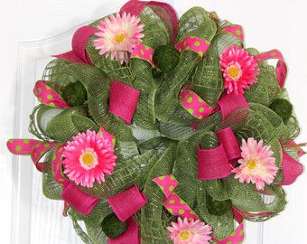 Beautiful Spring Wreath.  Moss Green Deco Mesh, Hot Pink Burlap Ribbon, Polka Dot Ribbon. Gerbera Daisies.  Fun, Spring Wreath