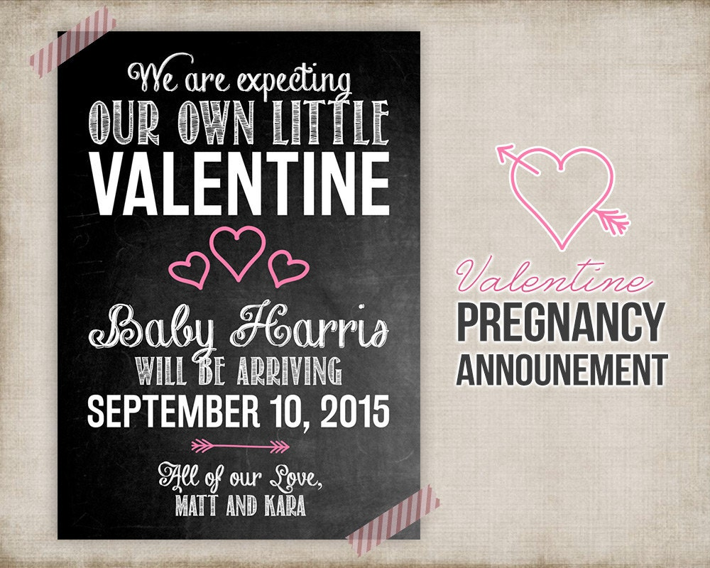 Valentine Pregnancy Announcement Printable Card Sign – Baby Announcement Cards Etsy