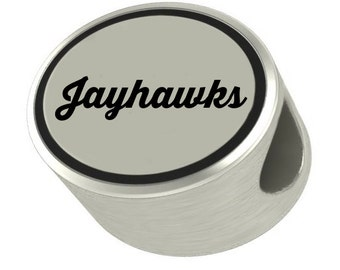 Jayhawks Oval Bead Universal European Slide On Charm - Perfect For Bracelets, Necklaces, & DIY Jewelry