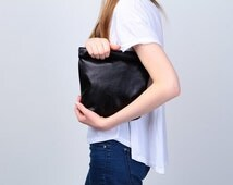 black leather lunch clutch, lunchbag, exclusive handmade leather bag, free shipping