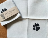 Black Dog Print Screen Printed cocktail Napkins on 100% Natural Linen, set of 4, Hostess gift