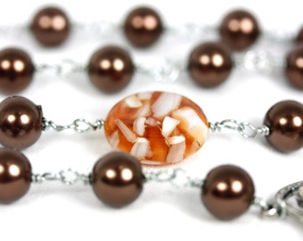 FREE US Shipping! Brown Glass Pearl and Composite Rosary, Brown Rosaries, Handmade Rosary, Rosaries on Etsy