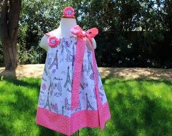 Clearance size 3/4. Pink Paris dress. Grow with me dress. Pillow case dress. Pink dress. Girl dress.