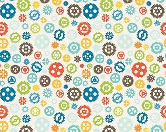 Riley Blake Fun and Games Gears C3385--1 yard--White