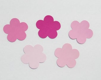 Pink paper  flower die cuts/ 25pc set / --choose size--