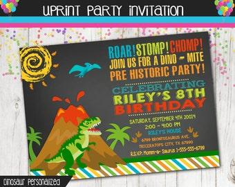 Dinosaur Party Invitation -  Prehistoric Party - Printable - Custom