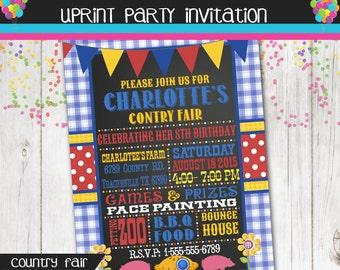 Country Fair - Carnival - County Fair Birthday Party Invitation -