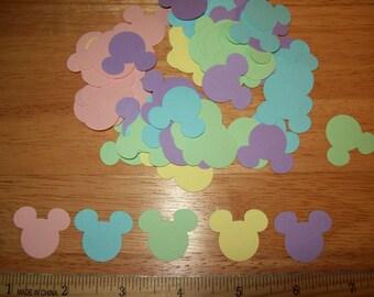 Scrapbook Mickey Head Die Cuts, Pastel Colored Cardstock, 100 pieces