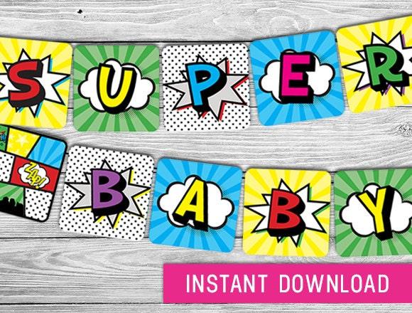 printable banner superhero baby shower banner by purdyprintsnyc