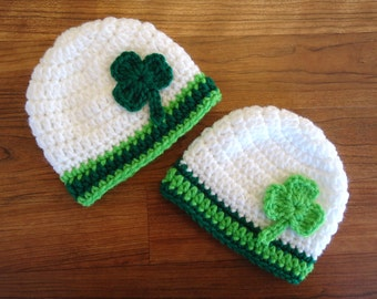Crocheted Twin Baby St. Patrick's Day Hat Set, White with Kelly Green & Lime Green with Shamrocks, Newborn to 24 Months - MADE TO ORDER