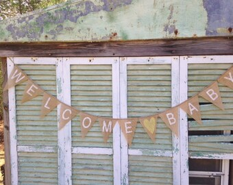 Wecome Baby burlap banner, Baby shower decoration, photo prop