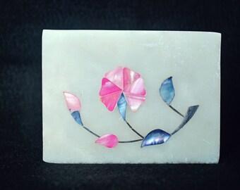 Pearl inlaid soapstone keepsake box-FREE shipping