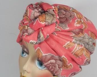 Silky chiffon, fashion turban, hat, pink, floral, full turban, vintage style, designer, dressy, size Sm, Med, L, XL. Free shipping in USA.