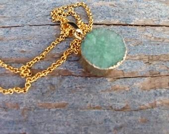 Mint Druzy Necklace - Seafoam Round Druzy Necklace - Gold Druzy Jewelry-Bridesmaids necklace- Goede Druzy jewelry