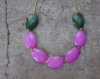 Fuchsia and Green Necklace -Chunky  Necklace - Statement Necklace-Fuchsia green weddings-Fuchsia bridesmaids necklace