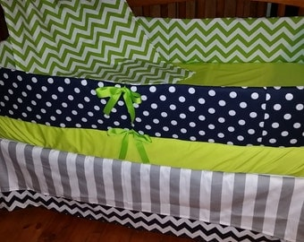 BLOWOUT SALE***Navy and lime chevron/dot with gray and accent crib bedding set