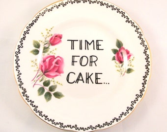 Time for Cake Vintage Floral Rose Pink Ornamental Side Plate Saucer Decorative Display Dish wall decor Pudding Desert Lover Slimming World