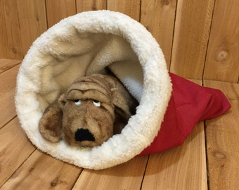 SMALL, Snuggle Den, Pet Bed, Red, Sleeping Bag, Den, burrow bed. dog sleeping bag, snuggle sacks, cave beds