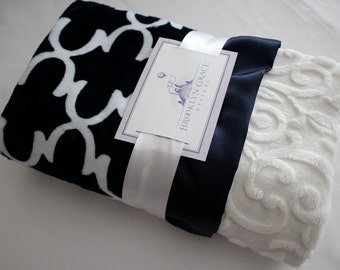 Navy and White Dolce Vita Lattice with White Embossed Vine and Satin Navy Ruffle Trim Minky Baby Blanket -  Nautical, Baby boy or girl