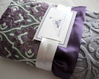 Mar Bella Valencia Cuddle Violeta Purple, Plum with Embossed Vine in Gray or White Minky Blanket, Crib Bedding, Nursery, Baby Shower