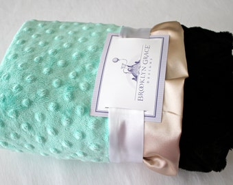 Mint Minky with Black Embossed Chevron and Gold Satin Trim, Baby Shower, Crib Bedding, Satin