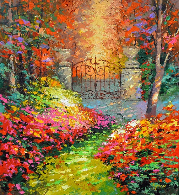 Items similar to in autumn garden original wall art for Garden painting images