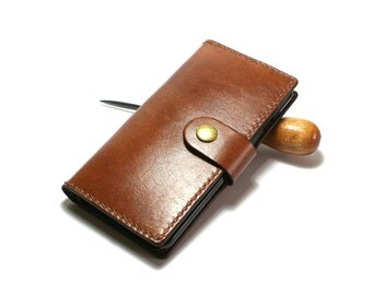 Light brown leather iPhone 6S wallet- Leather iPhone 6S Plus case - Handmade iPhone leather wallet