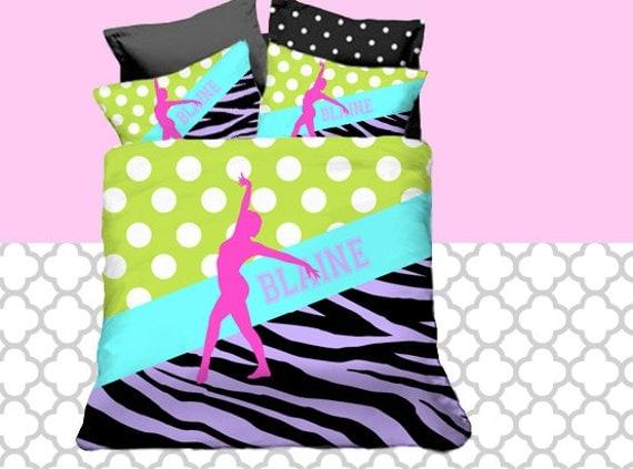 Customize Colors Gymnastics Bedding Set Monogrammed Name Duvet