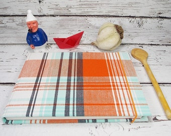 Cookbook, sketchbook, cookbook with old linen, My cookbook, personalized cookbook recipes from around the world, orange, bleu checked fabric