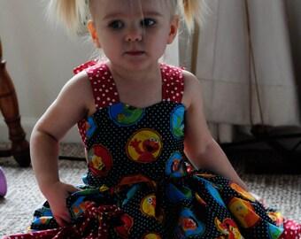 Sesame Street Inspired Peekaboo Dress sizes newborn - girls 8