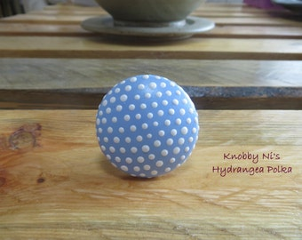 Blue Polka Dot Hand Painted Drawer Knobs | Dresser Pulls | Drawer Pulls | Nail Covers