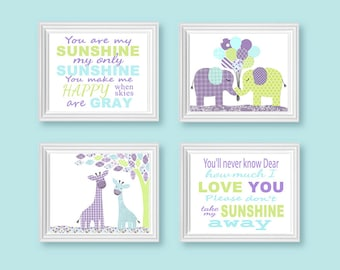 Nursery Art, Baby Girl, Toddler Room Decor, Elephants, Giraffes, You Are My Sunshine Prints, Aqua Green Purple, Lavender Baby Shower Gift