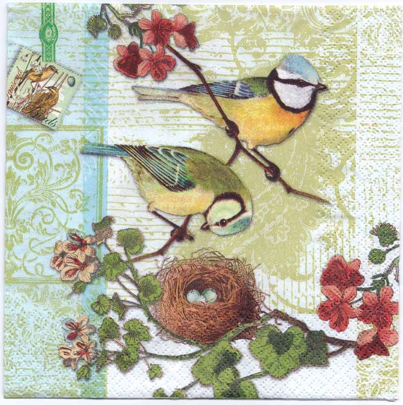 Decoupage Napkins Bird Family With Birdnest Bird