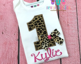 Baby Girl Cheetah Birthday Outfit - Cheetah Print Birthday Outfit - 1st Birthday Animal Print Outfit - Leopard print birthday outfit