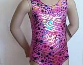 Girls Gymnastics Leotard, Girls Sizes 2 to 7 - Pink Party Hologram Leotard - Gymnastics and Dance Leotard