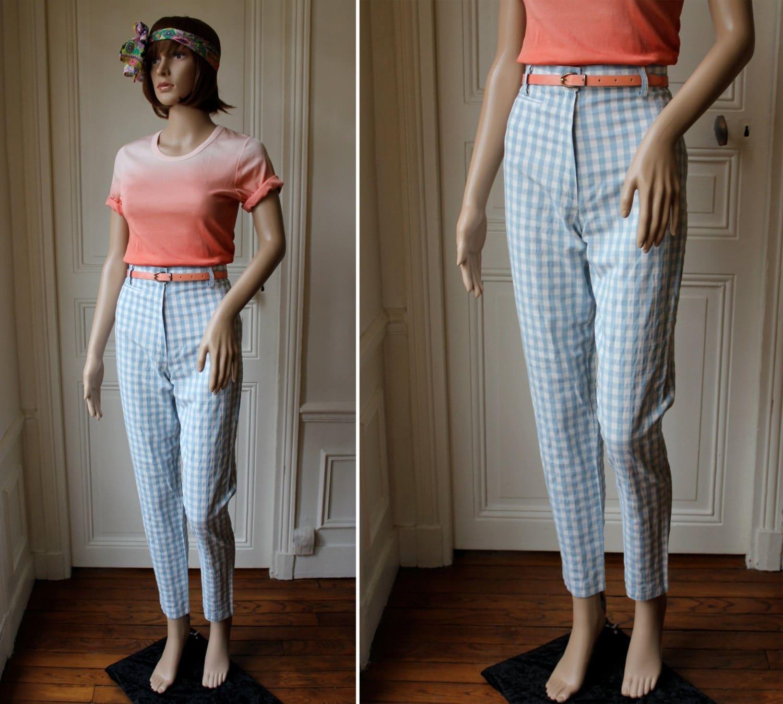 pantalon vichy pin up bleu ciel et blanc ann es 60 70 pantalon. Black Bedroom Furniture Sets. Home Design Ideas