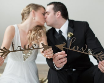Wedding Chair Signs: true love arrows