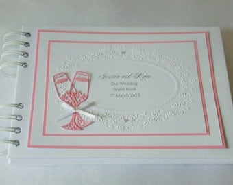 Wedding / Engagement Album With Interleaving,Album,Personalised ,A5,Embossing,Champagne Glasses ,Boxed,Colour Choice